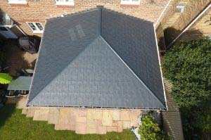 Birds-eye view of a tiled roof